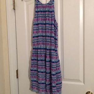 Decree Purple and Blue Tribal Print Dress